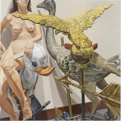 MODEL WITH OSTRICH, EAGLE, AND DUCK, Philip Pearlstein