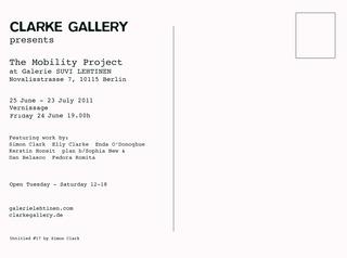 The Mobility Project at Galerie Suvi Lehtinen - postcard back, Elly Clarke, Kym Ward, Kerstin Honeit, Simon Clark, Enda O'Donoghue, Fedora Romita, plan b/Sophia New & Dan Belasco Rogers