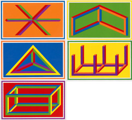 Isometric Figures 1-5, Sol LeWitt