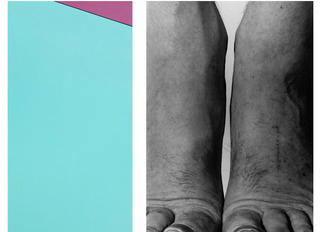 Ksard, (left) / Self Portrait. Feet, Frontal, (right),John Coplans, Olle Baertling