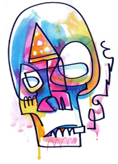"Pizza Skull "" Guston "", Jon Burgerman"