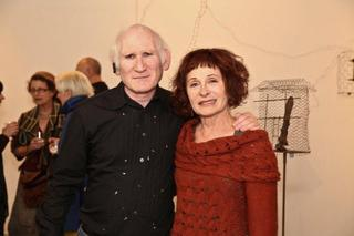 Maddy LeMel with art writer Peter Frank at Suspended States opening, Maddy Le Mel, Maddy LeMel