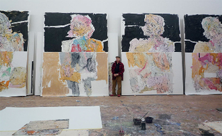 GEORG BASELITZ in his studio,
