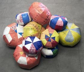 Upcycled Plastic Poufs, Carol Sogard