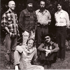 Back row, from left to right: Hap Tivey, James Turrell, Gus Blaisdell, and Lewis Baltz; front row, from left to right: Mowry Baden and Guy Williams; ,