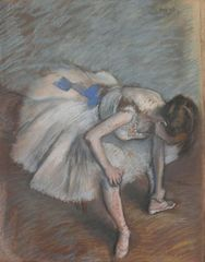 Danseuse assise, penchée en avant, elle se masse le pied gauche (Dancer sitting, leaning forward, she massages her left foot),Edgar Degas