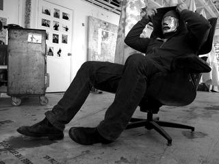 Portraits Without Faces, hooded man chair , john bell