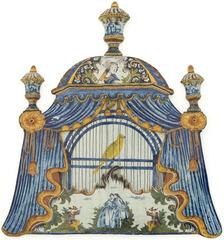 Plaque murale en forme de cage à oiseau recouverte d'une tente verte, Delft, vers 1780   ,