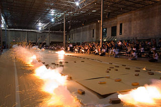 Ignition of Cai Guo-Qiang's gunpowder drawing Odyssey, Houston, Cai Guo-Qiang