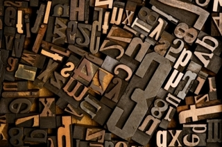 Collection of wooden type from the late 19th Century (stock photo),
