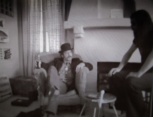 Video still from Interview between Lowell Darling and Willoughby Sharp, Lowell Darling