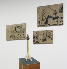 studio installation view with Pine Cone Rocket and paintings,Lisi Raskin