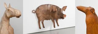 Anne Arnold, Bill (Horse) [detail], 1976, Wall Pig, 1971, Monte II [detail], 1988, Anne Arnold