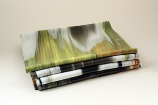 Folded painting with yellow green white and black (gravity fed),Margie Livingston