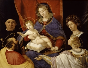 Madonna and Child with Saints Paul and Agnes and the Donors Paolo and Agnese Cassotti,Andrea Previtali