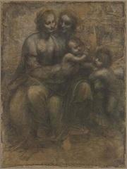 Sainte Anne, la Vierge et l'Enfant Jésus bénissant saint Jean Baptiste. Vers 1500, Leonardo da Vinci