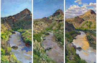 Orilla Verde at Rio Grande (triptych), Jivan Lee