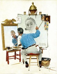 Triple Self-Portrait,Norman Rockwell