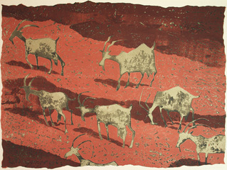 Goats in Canyon Road, Frederick O\'Hara