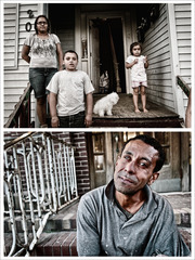 (Top):  Tice Lerner, Ever Onward Series, No. 3, C-Print (Family on porch, Binghamton, NY)  |  (Bottom): Tice Lerner, Ever Onward Series, No. 5, C-Print (Man on steps, Binghamton, NY),Tice Lerner