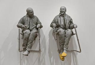 2 Seated on the Wall with Small Chairs, Juan Muñoz
