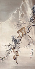 Monkeys and snowy pine, Gao Qifeng