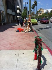 ,Yarn Bombing Los Angeles, California Poppy Collective