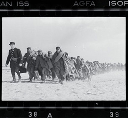 Exiled Republicans being marched down the beach to an internment camp, Le Barcarès, France, Robert Capa