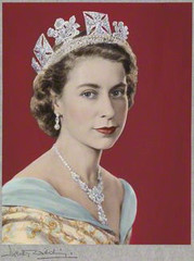 Queen Elizabeth II, hand-coloured by Beatrice Johnson ,Dorothy Wilding