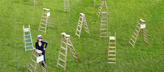 Yoko Ono with her installation: Sky Ladders  , Yoko Ono