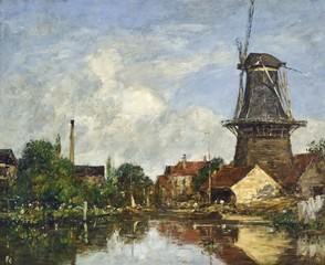 River Scene with Windmill at Dordrecht, Holland, Eugene-Louis Boudin