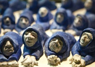 Detail of Blue Wall Beggars,Lynne Mayocole