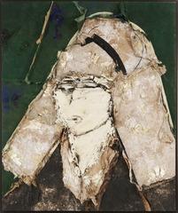 Retrato sobre fondo verde oscuro, Manolo Valdés
