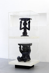 Stool Series (Kartell Atilla Stool Black and Carved African Luba Stool),Matthew Darbyshire