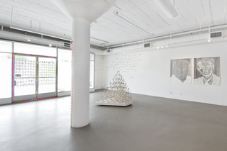 """Install shot of """"Lineamenta"""", Nuttaphol Ma, Jed Lind, GeoVanna Gonzalez, MA Peers"""