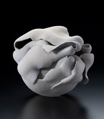 Grey flower-bud inspired stoneware sculpture ,Fujino Sachiko