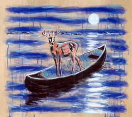 Blue Deer,Night,Ernest Silva