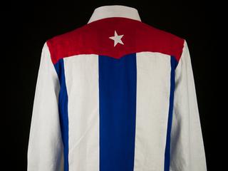 Guayabera bearing Cuban flag. .. Emiliano Nelson. ,