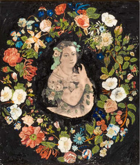 Wreath of Flowers with Portrait of Jenny Lind,