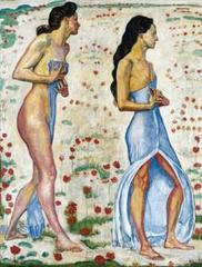 Two Women in Flowers , Ferdinand Hodler