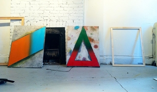 Last Chance for Romance (left) and Forever's Gonna Start Tonight, 2012, in the artists studio, Andrew Brishler