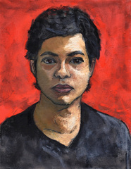Self-Portrait (reddish background), Rudy Bravo