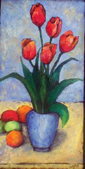 Tulips in a blue vase, Orma Hammond