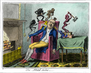 The Head Ache, after George Cruikshank, Enrique Chagoya