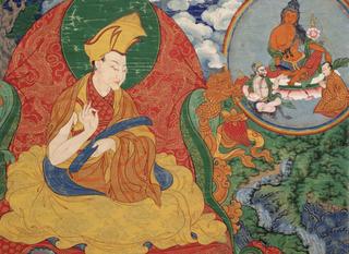 The First Panchen Lama, Lobzang Chökyi Gyaltsen (detail); Tsang Province, Tibet ,