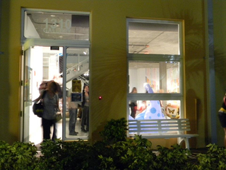 Gallery entrance during HUMORITORIUM Event, Curated by Lisa Rockford,