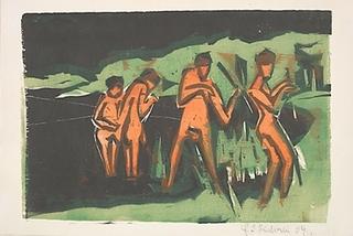 Bathers Throwing Reeds, Ernst Ludwig Kirchner