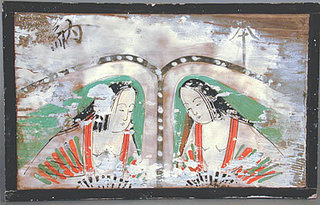 Shinto Prayer Plaque (ema) with Two Female Shrine Attendants,