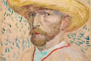  Self-Portrait with Straw Hat,Vincent Van Gogh