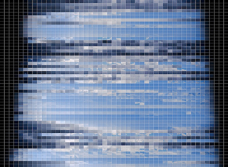 """Looking East, Looking West"" (detail of 35,040 image cells created by photographing the changing sky every 15 minutes for an entire year, 2010), Kirkman Amyx"